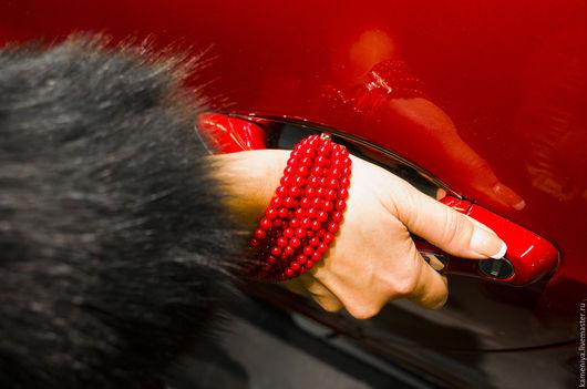 """Браслеты ручной работы. Ярмарка Мастеров - ручная работа. Купить Коралловый браслет многорядный """"Украла... кораллы"""". Handmade. Ярко-красный"""