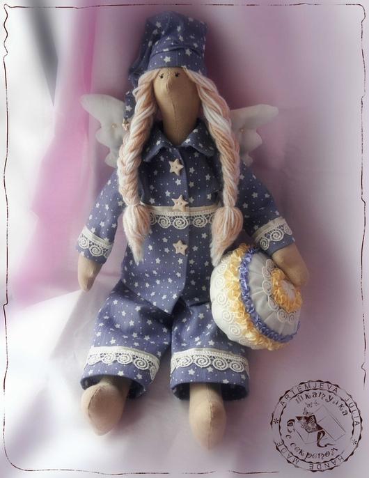 """Куклы Тильды ручной работы. Ярмарка Мастеров - ручная работа. Купить Сонный ангел """"Мечты о звездах"""". Handmade. Голубой"""