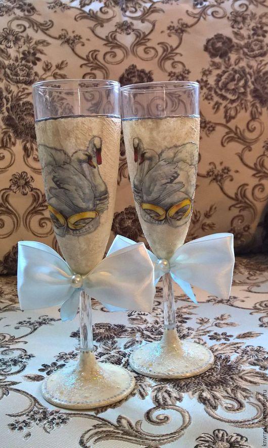 Бокалы, стаканы ручной работы. Ярмарка Мастеров - ручная работа. Купить Бокалы свадебные. Handmade. Белый