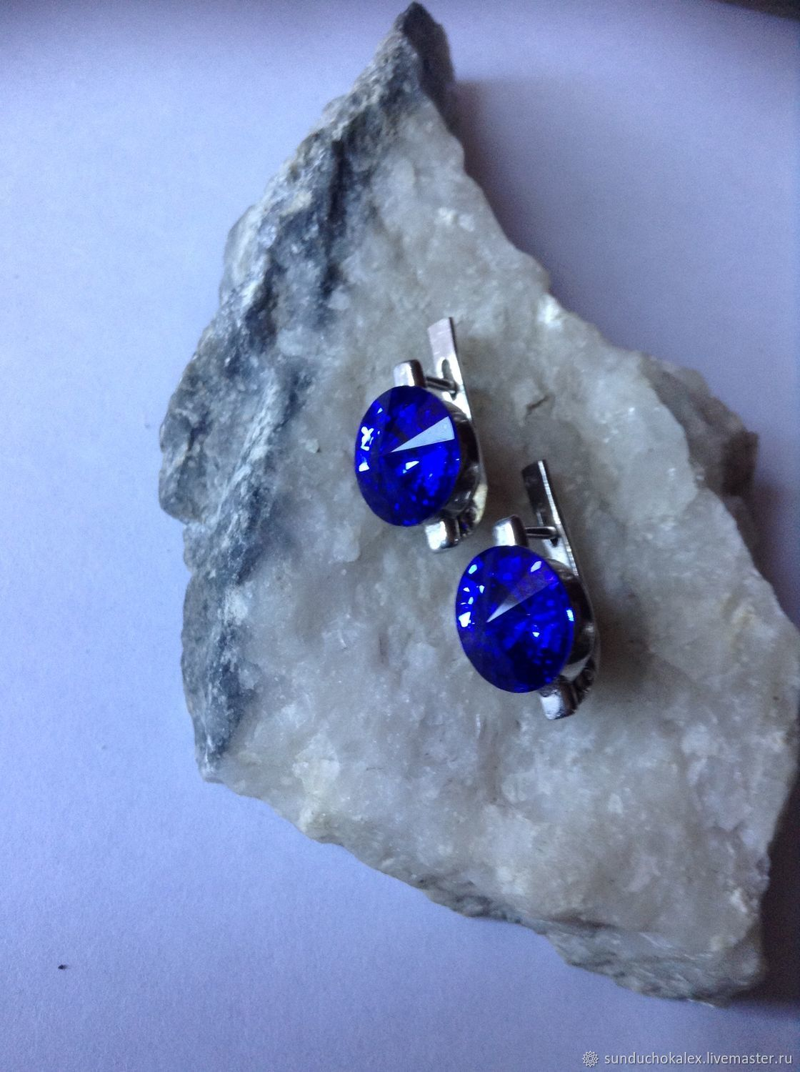 Earrings with Swarovski deep blue, eng. castle, Earrings, St. Petersburg,  Фото №1
