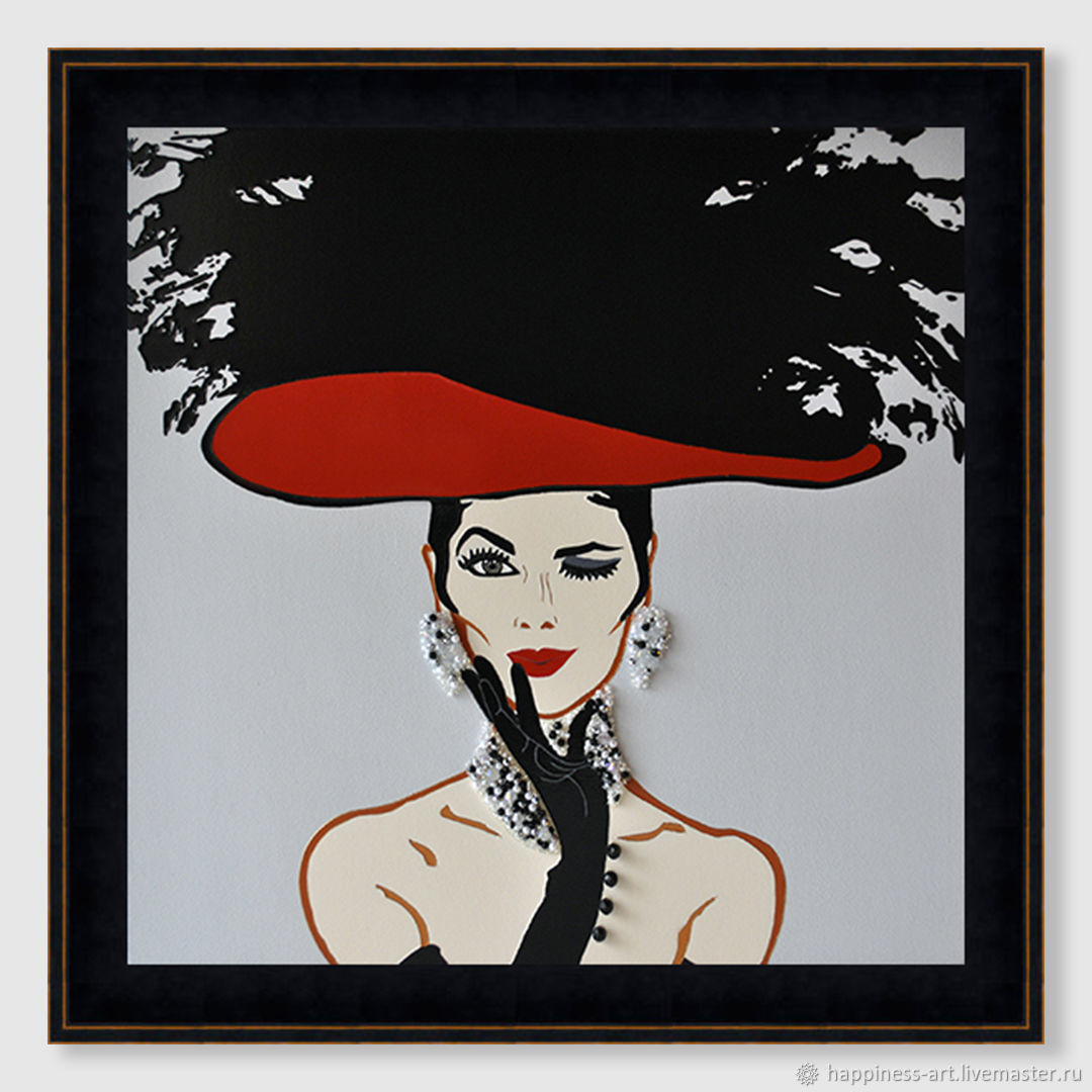 Stylish interior painting woman in a black hat Brigitte, Pictures, Moscow,  Фото №1