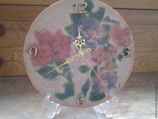 """Часы для дома ручной работы. Ярмарка Мастеров - ручная работа. Купить часы декупаж """"Акварель"""". Handmade. Часы настенные"""