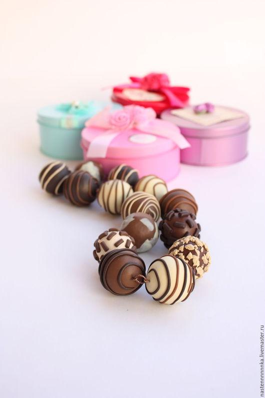 """Колье, бусы ручной работы. Ярмарка Мастеров - ручная работа. Купить Бусы """"Больше шоколада!"""". Handmade. Коричневый, Бижутерия"""