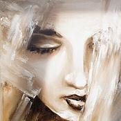 """Картины и панно ручной работы. Ярмарка Мастеров - ручная работа Картина маслом """"ГРЁЗЫ"""",40х60 (девушка, портрет,бежевый,белый. Handmade."""