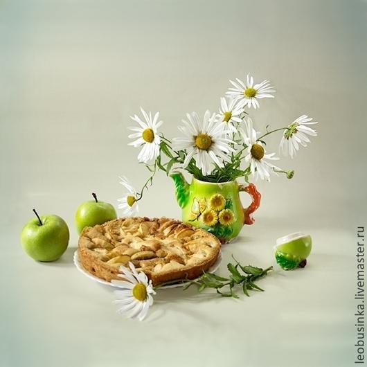 Фотокартины ручной работы. Ярмарка Мастеров - ручная работа. Купить Фотокартина Яблочный пирог. Handmade. Зеленый, летний натюрморт