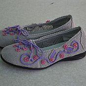 """Обувь ручной работы. Ярмарка Мастеров - ручная работа Вязаные балетки """" Шнурочки"""". Handmade."""