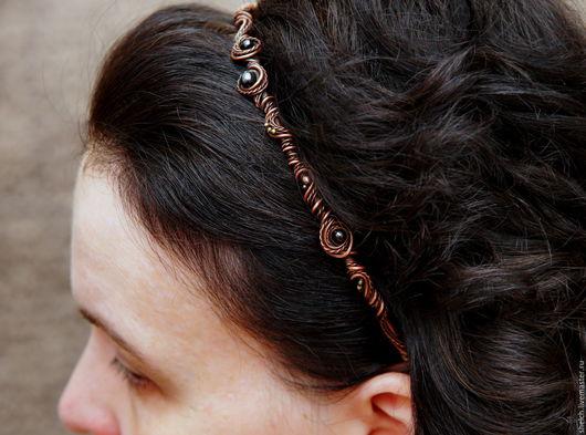 Диадемы, обручи ручной работы. Ярмарка Мастеров - ручная работа. Купить Ободок для волос Витой из меди (медный ободок, тонкий ободок). Handmade.