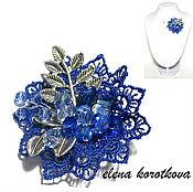 Украшения ручной работы. Ярмарка Мастеров - ручная работа Брошь синяя текстильная Синева подарок девушке, женщине. Handmade.
