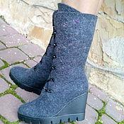 Обувь ручной работы. Ярмарка Мастеров - ручная работа Сапожки зимние шерстяные серые Мраморные. Handmade.