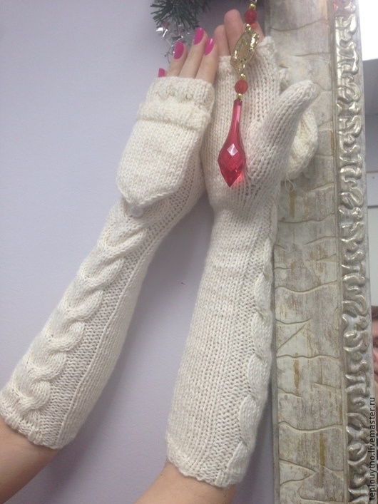 Варежки, митенки, перчатки ручной работы. Ярмарка Мастеров - ручная работа. Купить Варежки - трансформеры. Handmade. Белый, подарок на новый год