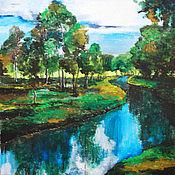 Картины и панно ручной работы. Ярмарка Мастеров - ручная работа Тихая речка. Картина акрилом. Handmade.