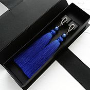 Украшения handmade. Livemaster - original item Bright blue brush earrings with Swarovski pearls. Handmade.