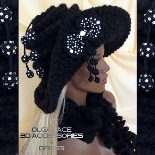 "Шляпы ручной работы. Ярмарка Мастеров - ручная работа. Купить Зимняя вязаная шляпа ""Black Star"" от Olga Lace. Handmade."