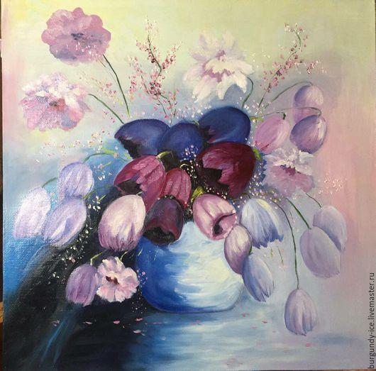 Картины цветов ручной работы. Ярмарка Мастеров - ручная работа. Купить Тюльпаны в вазе. Handmade. Сиреневый, тюльпаны цветы