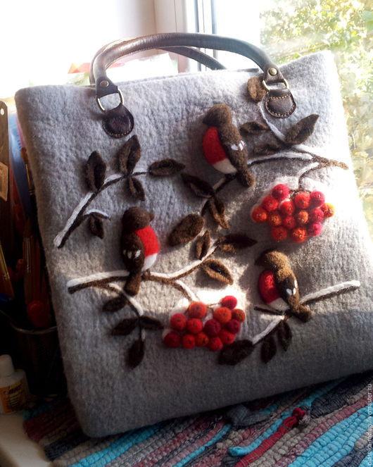 Женские сумки ручной работы. Ярмарка Мастеров - ручная работа. Купить Валяная сумка  Осенняя сказка. Handmade. Серый