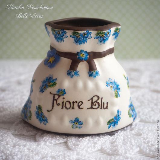 """Вазы ручной работы. Ярмарка Мастеров - ручная работа. Купить Вазочка-мешочек мини """"Fiore Blu"""". Handmade. Голубой, миниатюра"""