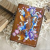 Канцелярские товары handmade. Livemaster - original item Leather cover Carp, passport cover. Handmade.