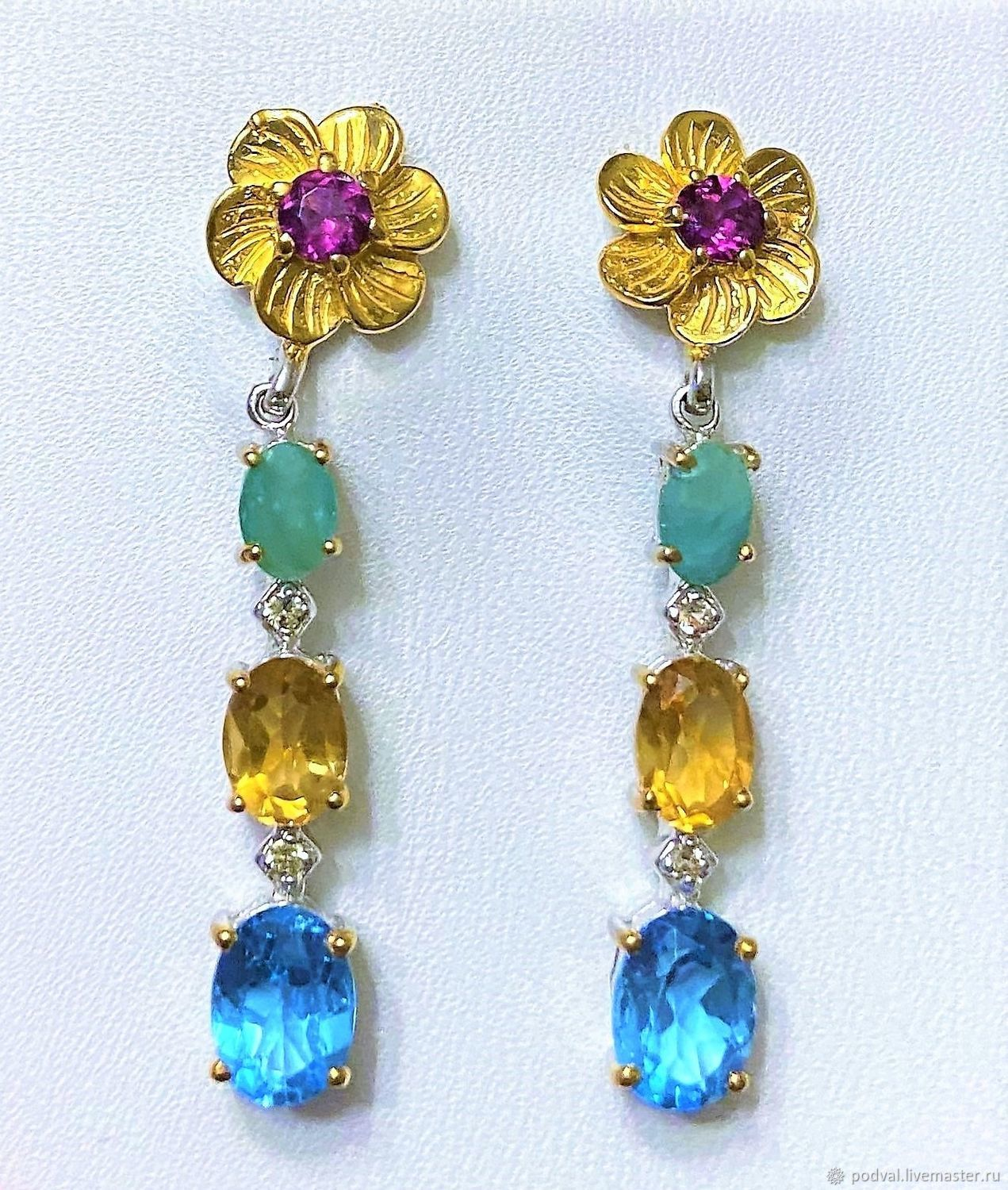 Silver earrings with natural stones ' Assorted', Earrings, Korolev,  Фото №1