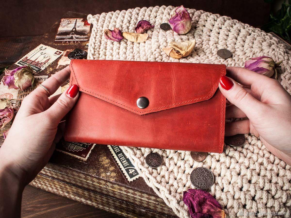 Женский кошелек из натуральной кожи Camellia цвет Красный, Кошельки, Тула,  Фото №1