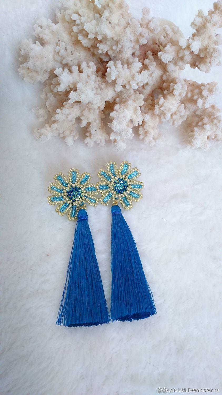 Earrings-brush: Earrings brush Flower blue Pusey, Tassel earrings, Podolsk,  Фото №1