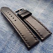 Аксессуары handmade. Livemaster - original item Black leather strap 20mm 22mm 24mm. Handmade.