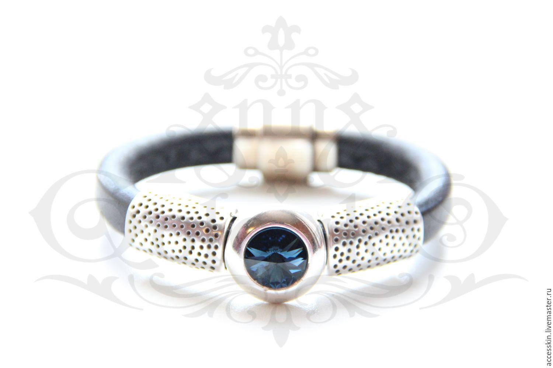 Кожаный браслет Regaliz чёрного цвета с кристаллом, Браслеты, Подольск, Фото №1