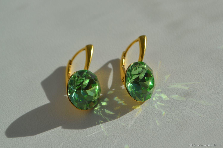 Серьги с кристаллами Swarovski Peridot 13 мм, Серьги классические, Пушкин,  Фото №1