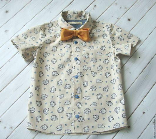"""Одежда для мальчиков, ручной работы. Ярмарка Мастеров - ручная работа. Купить Рубашка для мальчика """"Ежики"""". Handmade. Бежевый, для мальчика"""