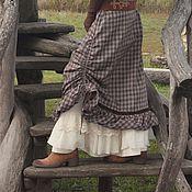 Одежда ручной работы. Ярмарка Мастеров - ручная работа Юбка теплая клетка  красивая с оборкой в бохо стиле. Handmade.