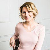 Одежда ручной работы. Ярмарка Мастеров - ручная работа Кофта лапша  с v-образным вырезом нежно-розового цвета. Handmade.