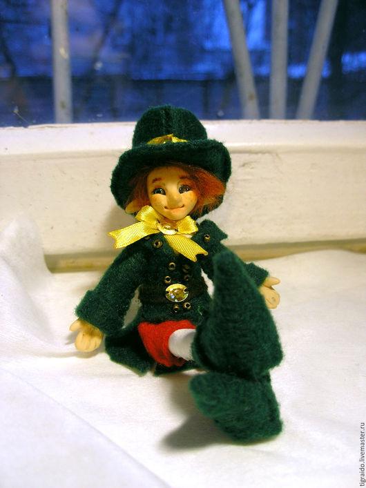 Сказочные персонажи ручной работы. Ярмарка Мастеров - ручная работа. Купить Лепреконы, миниатюрные куклы. Handmade. Зеленый, фетр