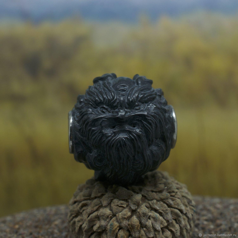 Pendants handmade. Livemaster - handmade. Buy Leshiy black ojime bead.Ivory, spirit, titanium