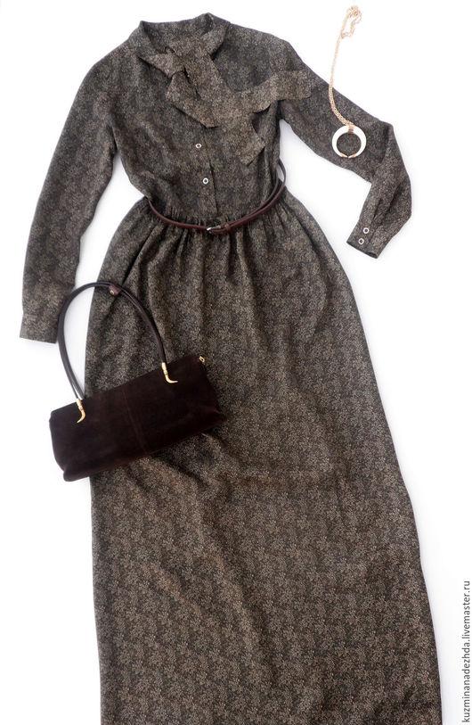 Длинное платье из вискозы `Гимназистка`