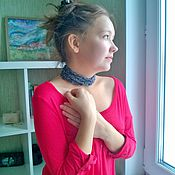 Аксессуары handmade. Livemaster - original item Long Necklace Scarf Knitted Braided Lariat Choker Decoration Grey. Handmade.