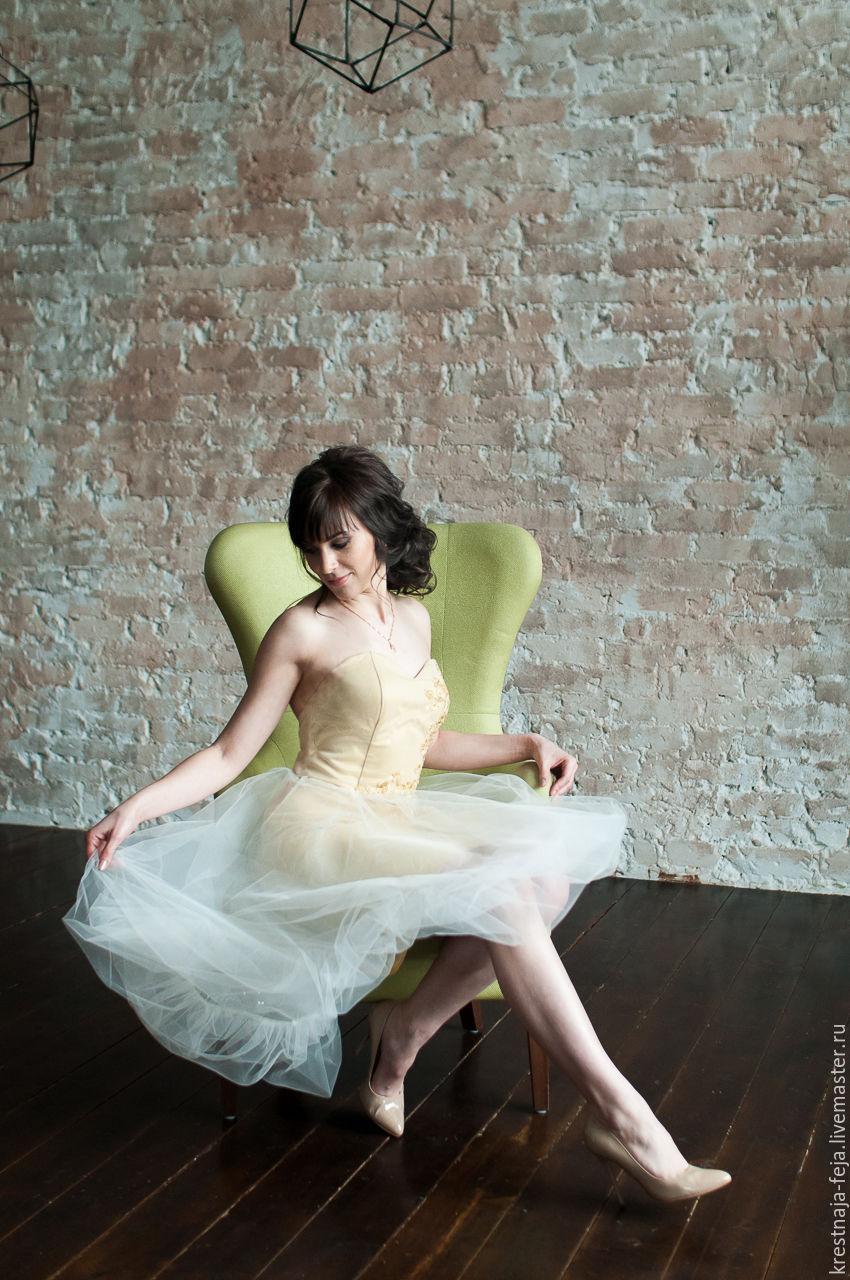 Коктейльное короткое платье на выпускной Золотое перышко, Платья, Рязань, Фото №1