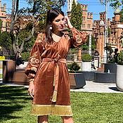 Одежда handmade. Livemaster - original item Velvet Exclusive Dress light brown, gold embroidery. Handmade.