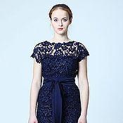 Одежда ручной работы. Ярмарка Мастеров - ручная работа Платье кружевное темно-синее. Handmade.