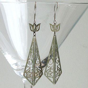 Vintage. Livemaster - original item Vintage earrings carved metal. Handmade.