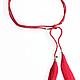 Пояса, ремни ручной работы. Пояс красный с шелковыми кисточками. Artig. Интернет-магазин Ярмарка Мастеров. Красный, boho