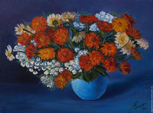 Картины цветов ручной работы. Ярмарка Мастеров - ручная работа. Купить Картина ручной работы. Цветы в голубой вазе. Холст. Масло. Хенд-мейд.. Handmade.
