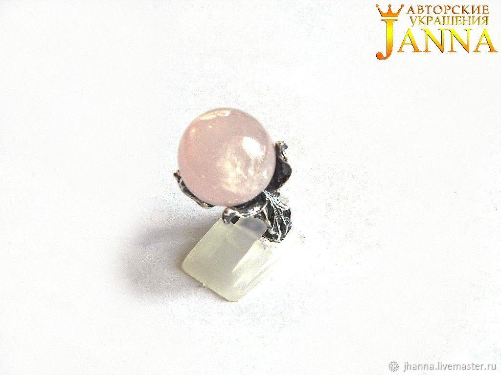 Rose quartz. ' Pink peony' ring with pink quartz, Rings, Volgograd,  Фото №1