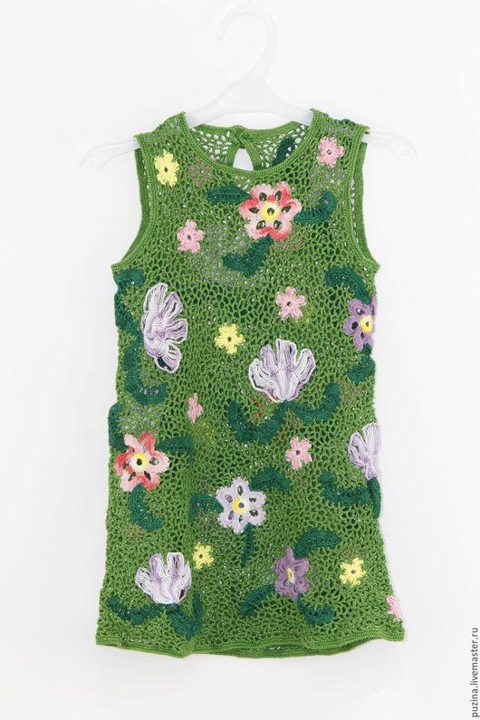 """Одежда для девочек, ручной работы. Ярмарка Мастеров - ручная работа. Купить Детское платье """"Цветочная полянка"""". Handmade. Зеленый"""