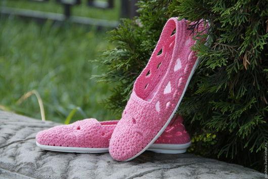 Балетки слиперы `Ярко-розовые`, рисунок АРОЧКИ. По желанию клиента выполняю в любом цвете.