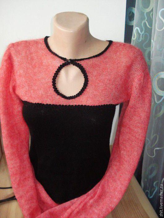 Кофты и свитера ручной работы. Ярмарка Мастеров - ручная работа. Купить Вязаная блуза. Handmade. Коралловый, однотонный, свитер