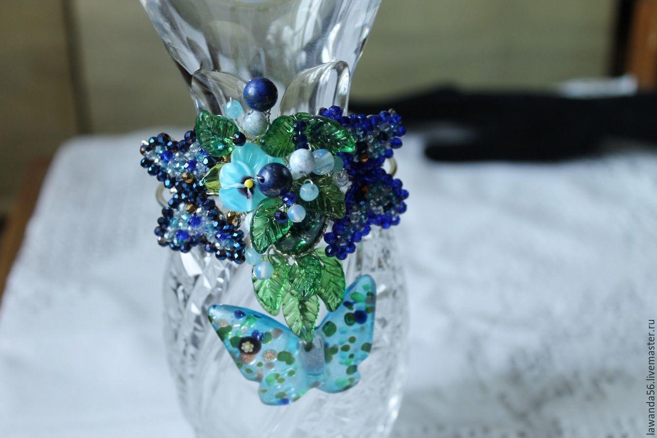 Bracelet lampwork with aventurine, moonstone, crystal butterfly Dance, Bead bracelet, Krasnoyarsk,  Фото №1