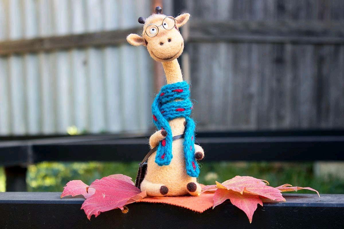 Жираф в шарфе, Войлочная игрушка, Краснодар,  Фото №1