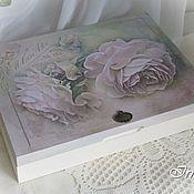 """Для дома и интерьера ручной работы. Ярмарка Мастеров - ручная работа шкатулка для фотоальбома """"Розовые розы"""". Handmade."""