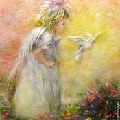 Картины и панно ручной работы. Ярмарка Мастеров - ручная работа Картина из шерсти Солнечный Ангел. Handmade.