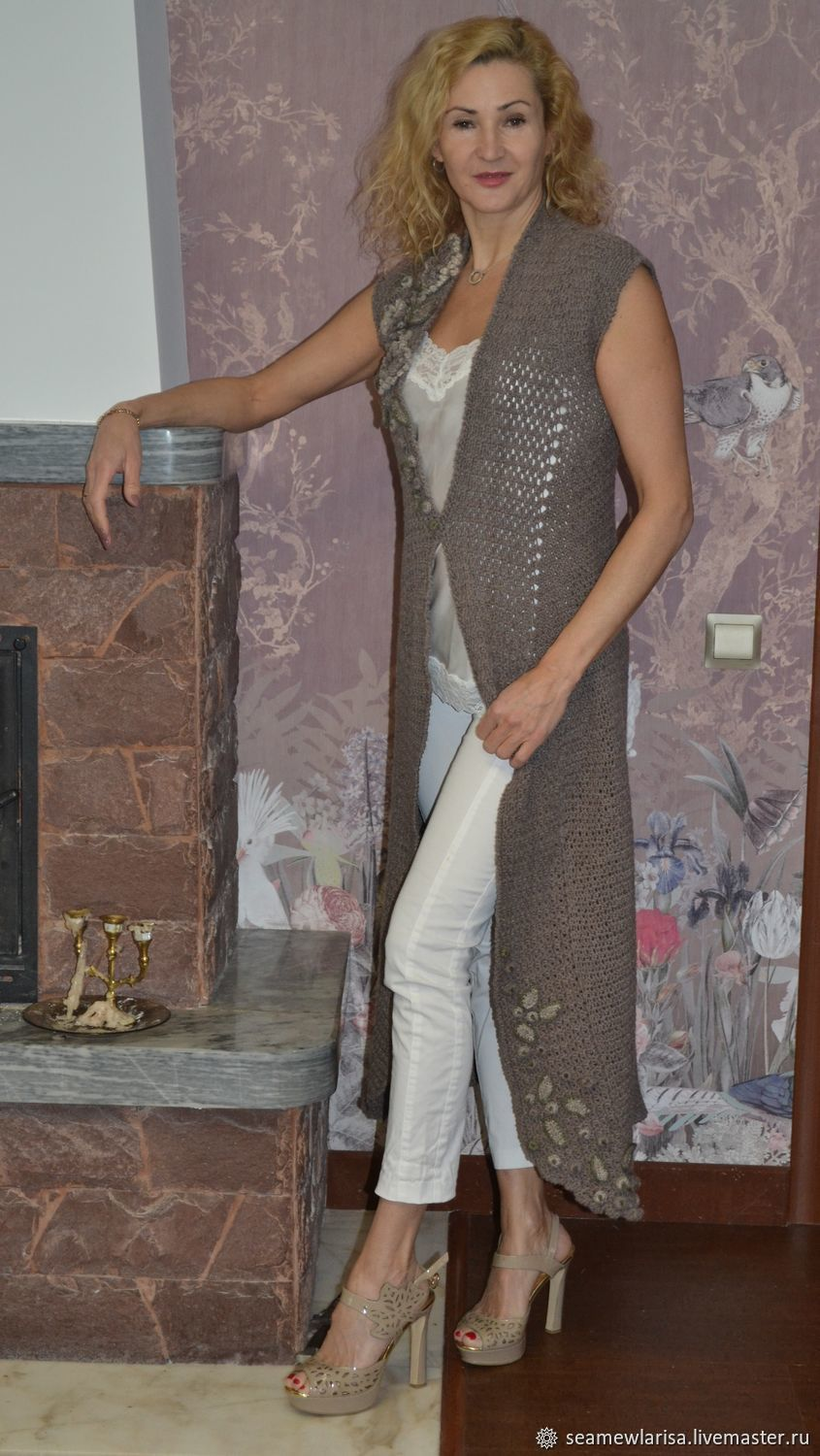 100% long cashmere vest handmade by the author, Vests, Sarapul,  Фото №1