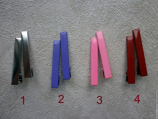 Для украшений ручной работы. Ярмарка Мастеров - ручная работа. Купить Зажим, 6 см, металл, набор 10 шт, основа, заготовка, цветные. Handmade.